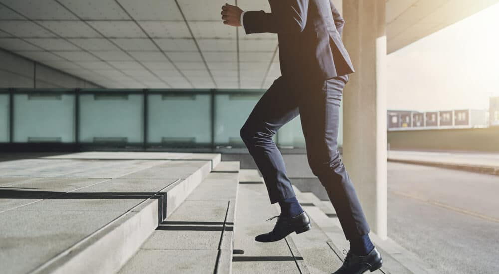Man running upstairs